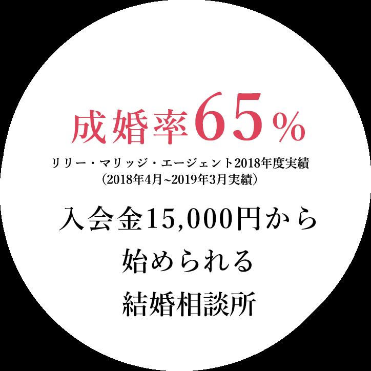 成婚率65% 入会金15000円から始められる結婚相談所